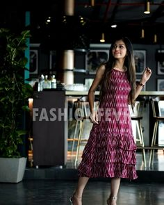 😍New launching exclusive collection of dresses and flared gown 😍 Grab your design now😄 DM us for more details and order Kalamkari Dresses, Ikkat Dresses, Kurta Designs Women, Blouse Designs, Frock Models, Casual Frocks, Frock Patterns, Frock Dress, Ruffle Dress
