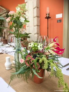 A Wilde Bunch table design for the Orangery room at The Lost Orangery. Antique bottles and terracotta pots as bases work so well. Antique Bottles, Terracotta Pots, Bristol, Wedding Events, Wedding Flowers, Floral Design, Lost, Table Decorations, Home Decor