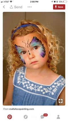 Blue butterfly face painting by EstTera Girl Face Painting, Face Painting Designs, Body Painting, Face Paintings, Cool Halloween Makeup, Halloween Makeup Looks, Halloween Face, Scary Makeup, Diy Halloween