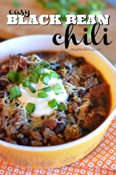 This Black Bean Chili Recipe is delicious and oh so easy! Great option for a quick, healthy meal!
