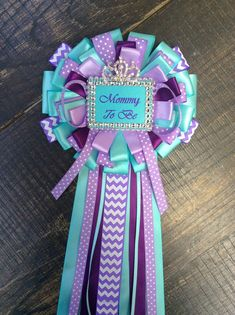 Mommy to be pin -mommy corsage-under the sea mommy pin- purple and aqua mommy corsage- under the sea baby shower- little mermaid baby shower