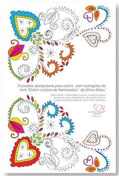 10 Postais Colorir Lenços de Namorados 1 Bordados E Cia, Portuguese Culture, Embroidery Designs, Portugal, Folk, Creations, Poster, Bullet Journal, Design Inspiration