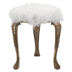 Featuring an aluminum cabriole base and faux fur seat, this eye-catching stool adds contemporary flair to your master suite or home office. ...
