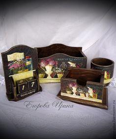 Купить Канцелярский набор Цветочный натюрморт - набор, канцелярские товары, канцелярия, канцелярский набор, Декупаж