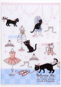 white A5 mini plastic file folder with cats ballerina
