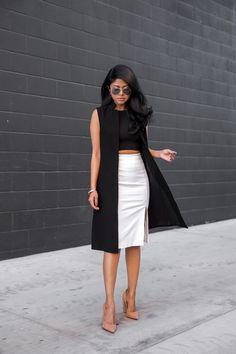 black sleeveless coat + black crop + white skirt + nude heels
