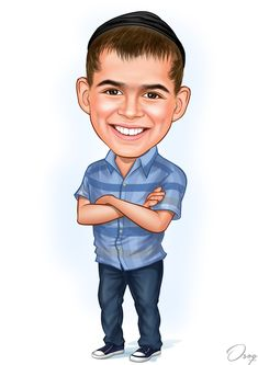 The boy with shaven brown hair, with long sidelocks tucked under his black religious head covering, called a yarmulke. Brown eyes and smiling with teeth showing. He is wearing a heather blue plaid, short sleeved, button down shirt. Cartoon Logo, Cartoon Design, Cartoon Art, Brown Eyes, Brown Hair, Caricature Artist, Art Station, Big Eyes, Blue Plaid