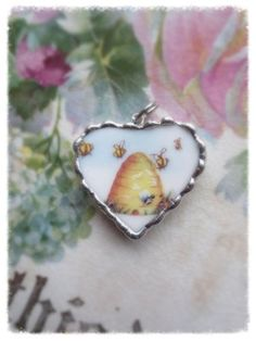 Vintage China Vintage Recycled Broken China Honey Bee Skep Apiary Heart and Home for Tiny Bees I Love Bees, Birds And The Bees, Hives And Honey, Honey Bees, Buzz Bee, Bee Skep, Bee Jewelry, Jewellery, Broken China Jewelry