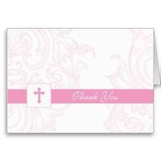 Shop Christening or First Communion Thank You Card created by OrangeOstrichDesigns. Thank You Card Design, Custom Thank You Cards, Baptism Thank You Cards, Cool Themes, First Communion, Christening, Smudging, Pretty In Pink, Paper Texture