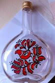 Hand-painted glass bottel , Hungarian motif