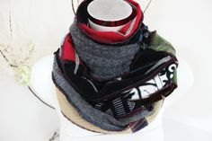 Handmade men scarf Gray red black scarf World by Nazcolleccolors