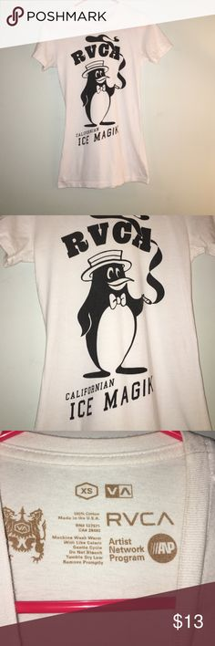 RVCA Graphic Tee RVCA, white tee, black graphics, penguin smoking cigar , California ice magik RVCA Tops Tees - Short Sleeve
