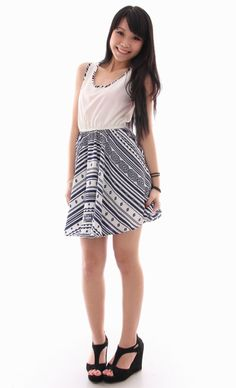 Tribal Skater Dress in Navy S$26.90   from: http://www.michiyoshop.com