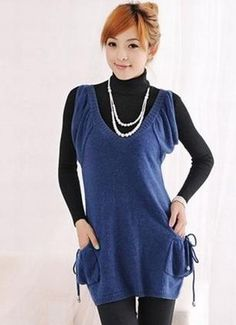 Side-pockets Sleeveless Stretch Sweater Blue