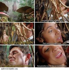 """""""It's just reminds me of a story of how my grandma met my grandpa. He trapped her in a net"""" - """"That's weird and aggressive"""" """"Yeah, well, she hit him with a rock first"""" - """"Your grandma sounds like my kind of woman"""" #Henriella #OnceUponATime"""