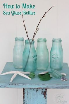 How to make sea glass colored bottles with Mod Podge, food coloring and bottles from Michaels.