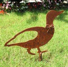 Duck Metal Garden Stake - Metal Yard Art - Metal Garden Art - Rustic ...