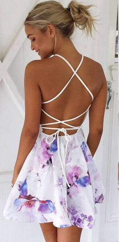 Strap Backless Print Sleeveless Short Dress cute outfits for girls 2017 Semi Dresses, Hoco Dresses, Dance Dresses, Homecoming Dresses, Pretty Dresses, Beautiful Dresses, Casual Dresses, Spring Formal Dresses, Backless Dresses
