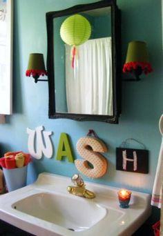 Bathroom decor - specially for kids bathroom love the quote for the bathroom! bathroom decor for littles via Babble bathroom decor Bathroom Kids, Kids Bath, Bathroom Colors, Downstairs Bathroom, Childrens Bathroom, Design Bathroom, Bathroom Wall, Bathroom Interior, Kid Spaces