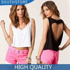 Fashion Cotton Short Design Navel Back Heart Hollow Back Women's Sexy Tops Short Tank Vest Camis Tee http://tinyurl.com/ngzy4ue #womenfashion #top #tshirt #fashiontshirt