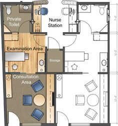 Multi-room Exam Suite Floor Plan. Designed by Jain Malkin Inc.