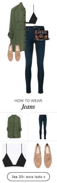 """""""Untitled #13702"""" by alexsrogers on Polyvore featuring Yves Saint Laurent, Tommy Hilfiger, Zara and Gucci"""