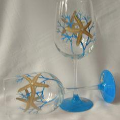 Starfish hand painted wine glass.