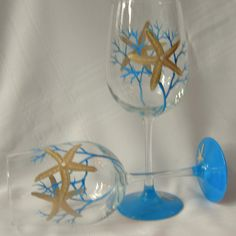 Starfish hand painted wine glass.