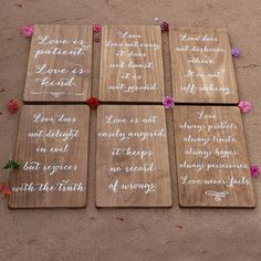 Corinthians 13 Love is Patient Wedding Aisle Signs / Handpainted Wood Signs for Wedding Ceremony by TheSignPatch on Etsy https://www.etsy.com/listing/207881321/corinthians-13-love-is-patient-wedding