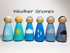 Give your child a creative learning experience with our hand-painted wooden peg doll set. Not only are they a fun way for your child observe weather changes, they also teach color shade sequencing and can be used as a tool to help young children talk about their emotions. This timeless peg doll set will grow with your child for years to come. This peg doll set would make a unique gift for a teacher, a friend, or a special child. Our Weather set would look great displayed on a mantel…