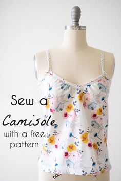 Great Totally Free Sewing clothes Strategies Sew a camisole - summer tank top tutorial with free pattern by Melly Sews Diy Sewing Projects, Sewing Projects For Beginners, Sewing Hacks, Sewing Tutorials, Sewing Tips, Sewing Crafts, Sewing Ideas, Diy Embroidery For Beginners, Sewing Designs