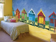 Beach Huts-too cute for a bedroom at a beach cottage