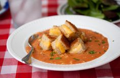 Grilled cheese croutons!  What a great idea for tomato soup!