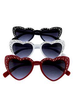 706ad27b0246 Women's Lolita Affection Rhinestone Cat Eye Heart Shaped Sunglasses  (Various Colors)
