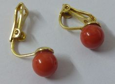 Natural italian Red Coral Earring, beads 7 mm , no dyed, yellow gold 18 carats  | eBay