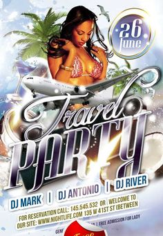 """Free Travel Party Club Flyer PSD Template - http://freepsdflyer.com/free-travel-party-club-flyer-psd-template/ Free Travel Party Club Flyer PSD Template – PSD is set up in 1275×1875 dimension (4,6"""" with 0,25"""" bleed). You can easily change texts, content, images, objects and color palette. The PSD file is very well organized, with color coded groups and layers named appropriately."""