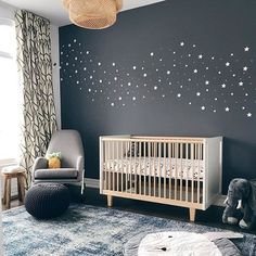 Go bold or go home! We love this dark accent wall in a celestial nursery. Image: @onehipmum . . . . . #projectnursery #nursery #nurserydecor #nurseryinspo #nurseryroom #nurseryideas #babyroom #homedecor #homedesign #interiordesign #interiors