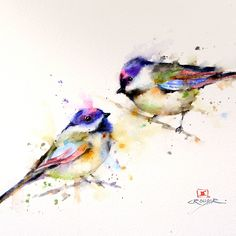 CHICKADEE Colorful Watercolor Print by Dean Crouser. $25.00, via Etsy.