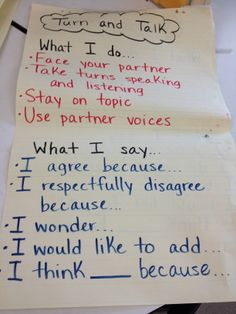 turn and talk - accountable talk