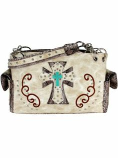 Beige Western Cross Satchel