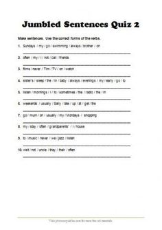 jumbled sentences quiz_present simple tense and adverbs of frequency revision_with answer key