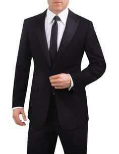 Alexander Dobell Men's Peak Lapel 1 Button Slim Fit Tuxedo Jacket Black Tuxedo Jacket, Tuxedo Pants, Mens Tuxedo Suits, Tuxedo For Men, Classic Tuxedo, Slim Fit Tuxedo, Slim Pants, Skinny Fit, 1 Button