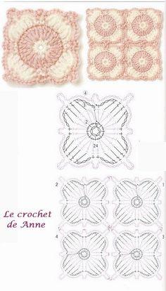 Several crochet diagrams - carré rose et blanc