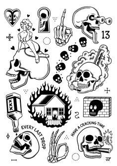 Justin Poulter — Wildfire Absinthe and Tattoos - Justin Poulter — Wildfire . - Justin Poulter — Wildfire Absinthe and Tattoos – Justin Poulter — Wildfire Absinthe and Tatt - Flash Art Tattoos, Tattoo Flash Sheet, Body Art Tattoos, Kritzelei Tattoo, Doodle Tattoo, Tattoo Motive, Tattoo Sketches, Tattoo Drawings, Black Tattoos