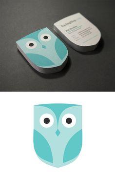 Cute Owl Custom Die-Cut Business Card Design