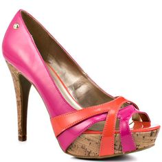 Hot Pink and Coral Pumps with Cork Heel, Corali by G by Guess, $49.99