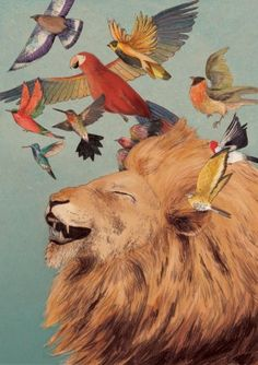 Aslan laughing - or singing the birds into being