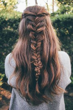 messy fishtail braid on a half updo