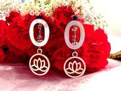 Boucle D'oreille #LapisLazuli & #Lotus de la boutique #Leelooart sur Etsy