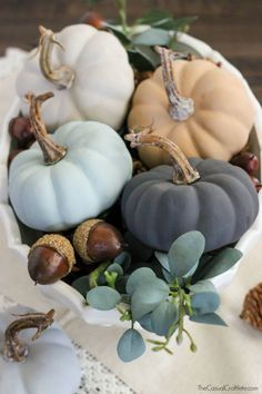 Decorate this fall with Vintage Inspired Chalky Paint Pumpkins. The neutral paint colors bring an elegant touch to any home all season long.